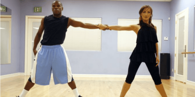Floyd Mayweather Jr. and Karina Smirnoff practicing on 'Dancing With the Stars'.