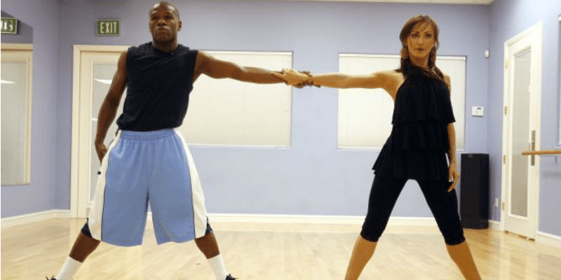 Floyd Mayweather Jr. and Karina Smirnoff practicing on Dancing With the Stars.