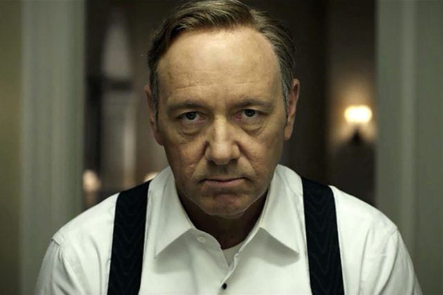 Frank Underwood stares into the camera in a scene from 'House of Cards'