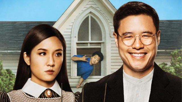 Randall Park and Constance Wu pose for a painting