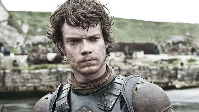 Theon Greyjoy looks pensive in his armor in a scene from 'Game of Thrones.'