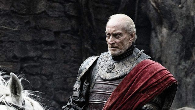 Tywin Lannister rides a horse in a scene from 'Game of Thrones.'