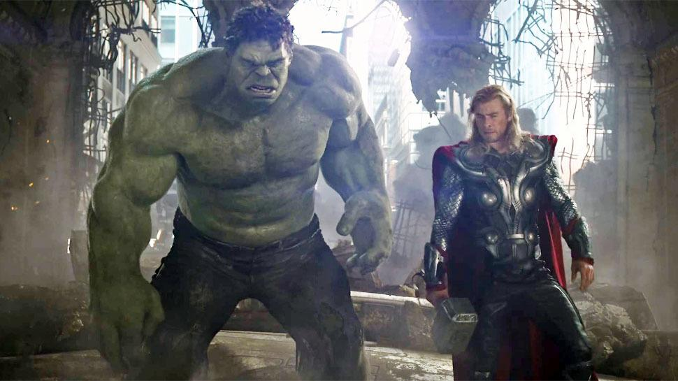 Hulk stands next to Thor in Avengers: Age of Ultron