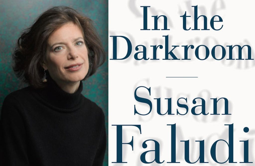 Susan Faludi next to the cover of In the Dark Room