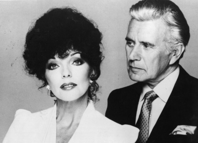 Alexis (Joan Collins) and Blake (John Forsythe) in a promotional image from 'Dynasty'