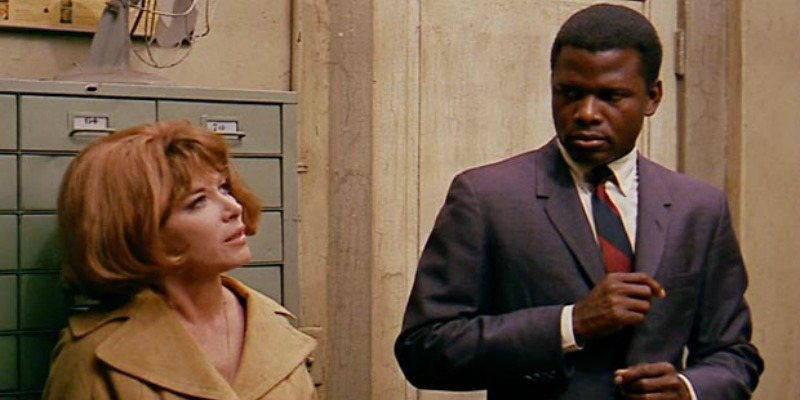 Sidney Poitier and Lee Grant in a scene of In the Heat of the Night.
