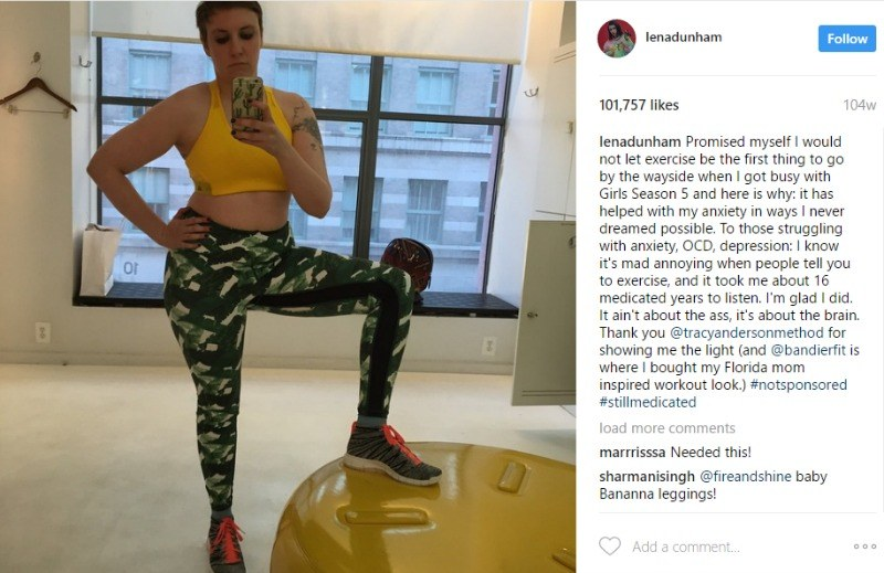 Lena Dunham poses in her exercise outfit in a photo on Instagram.