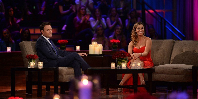 Liz and Chris Harrison smiling on Women Tell All