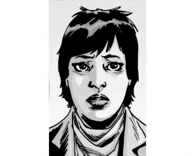 A panel from 'The Walking Dead' comics shows Maggie with short hair.