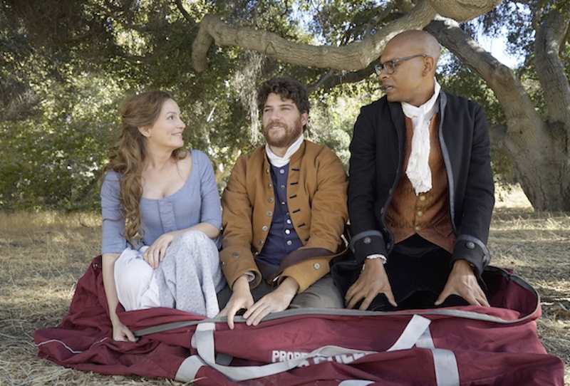 """Leighton Meester, Adam Pally and Yassir Lester in the """"The Shot Heard Round The World"""" episode of Fox's Making Hiistory"""