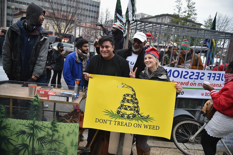 People rally in Washington, D.C., in favor of marijuana legalization.