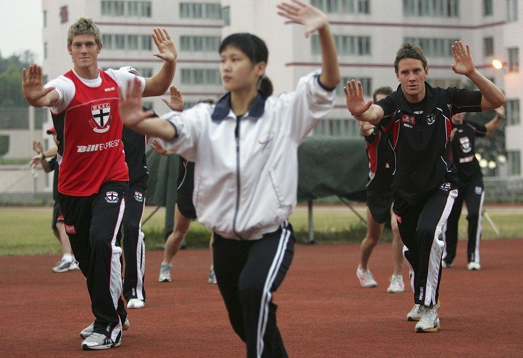 The St Kilda football team learned how effective morning martial arts can be while on a trip to China