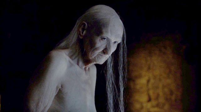Melisandre, after revealing her true form, in a scene from Season 6 of 'Game of Thrones'