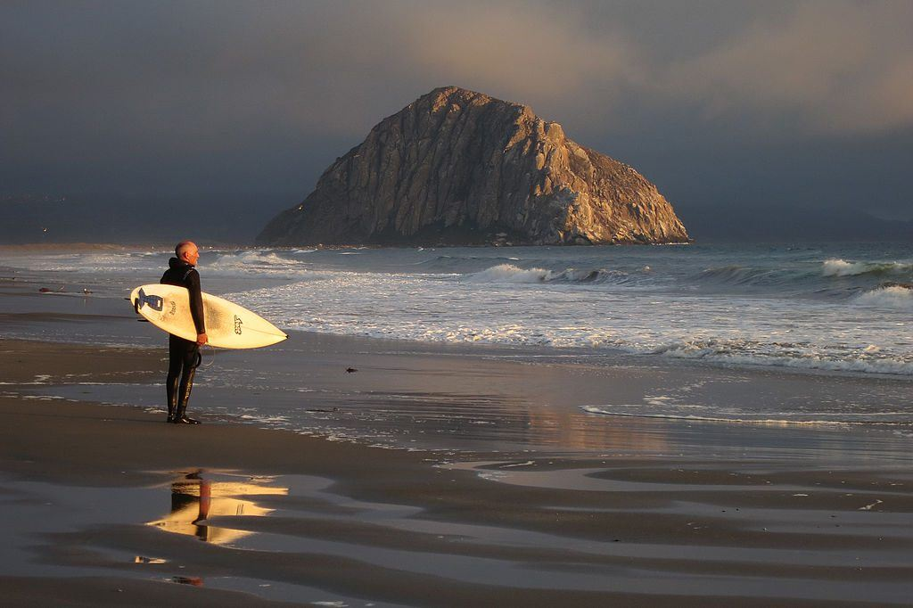 surfer stands holding board at water's edge