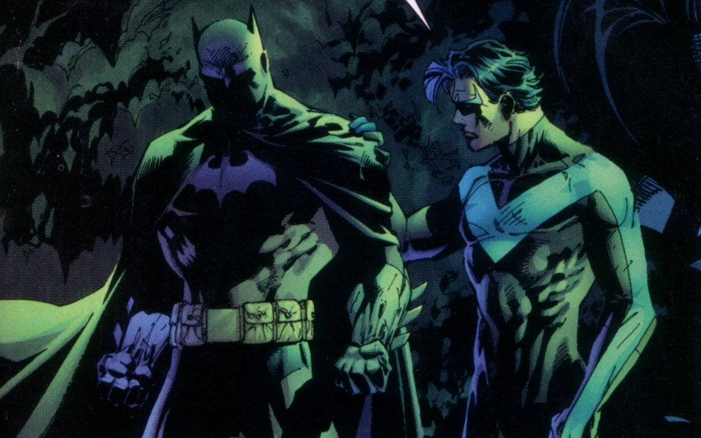 Nightwing and Batman share a moment together