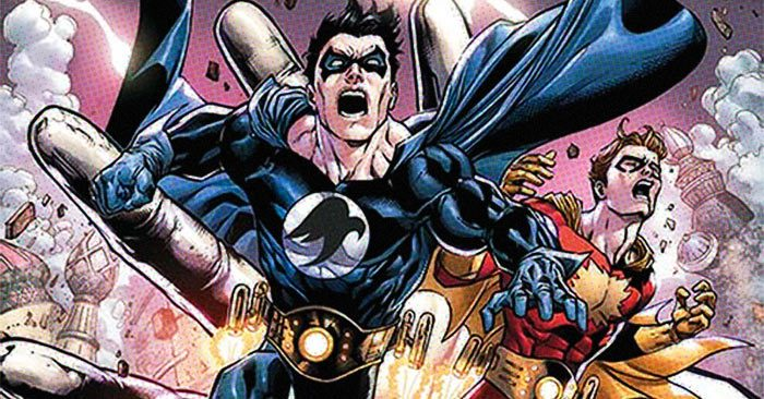 Superman and Nightwing shouting in the comics