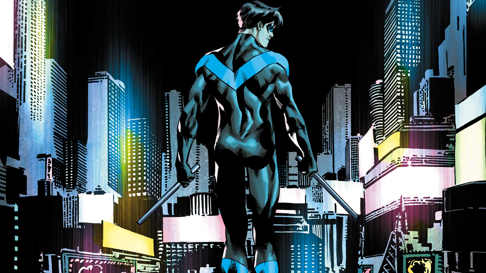 Nightwing walking in Bludhaven