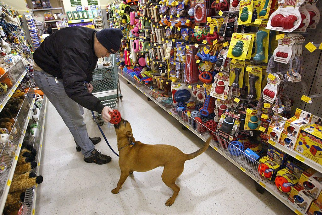 man and dog in Petsmart