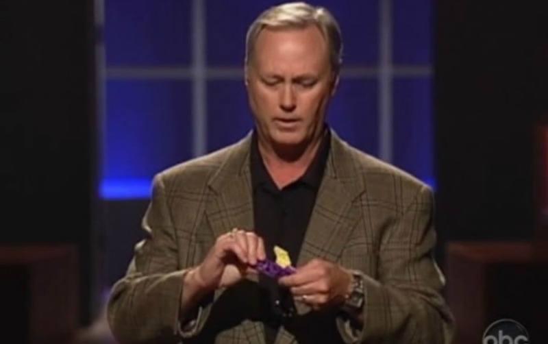 Mark Burginger showing the Qubits toy on Shark Tank