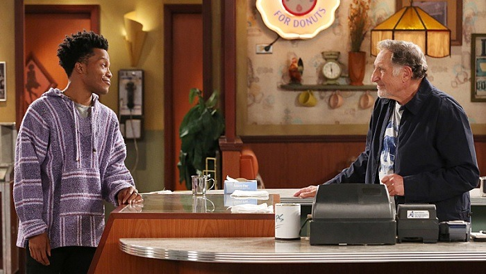 Judd Hirsch and Jermaine Fowler talk in a scene from Superior Donuts