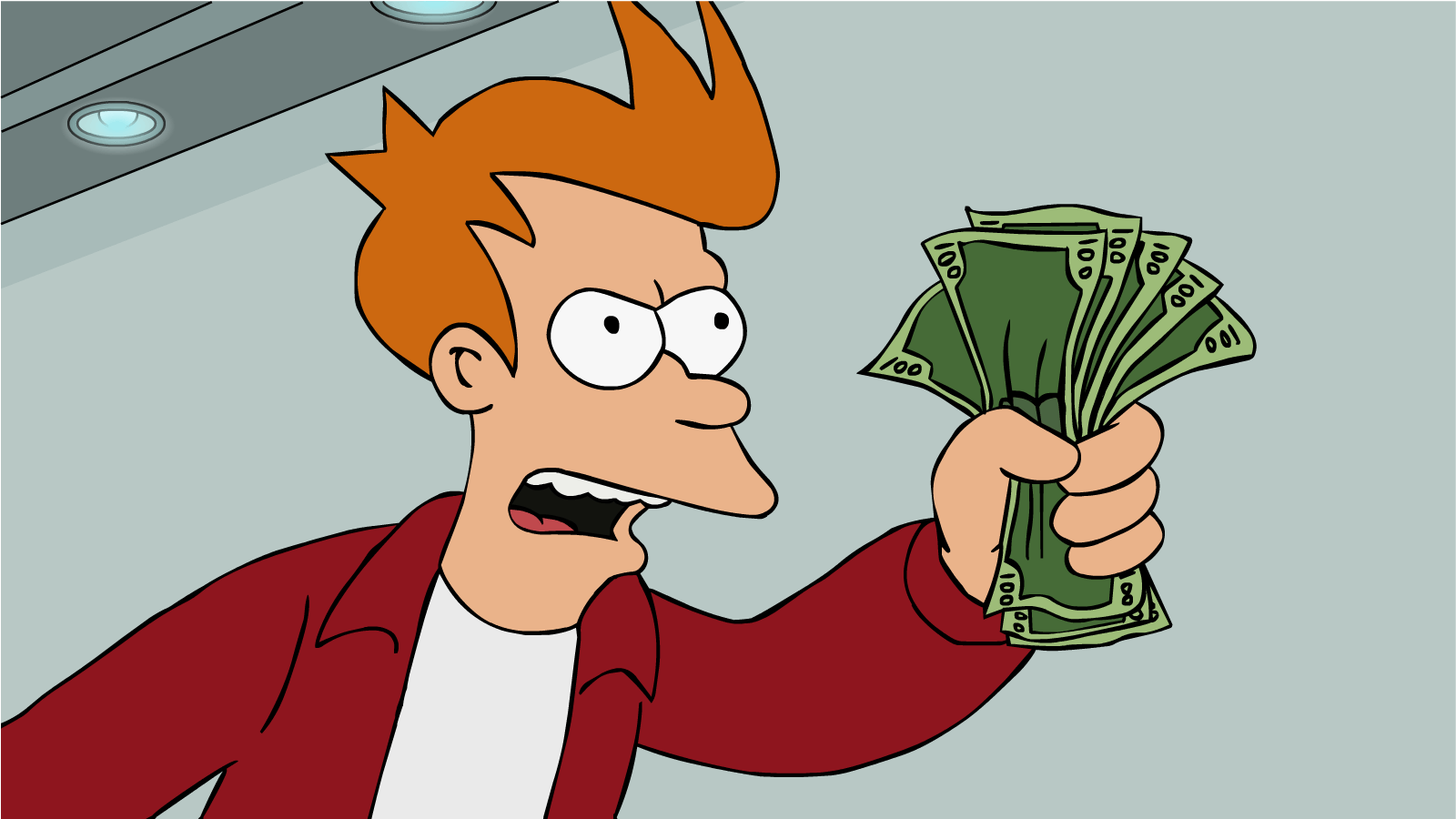 Futurama's Fry desperately searches for a way to start investing his money
