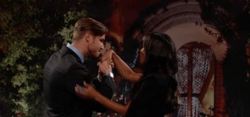 "Blake kissing Rachel's hand on ""After the Final Rose."""