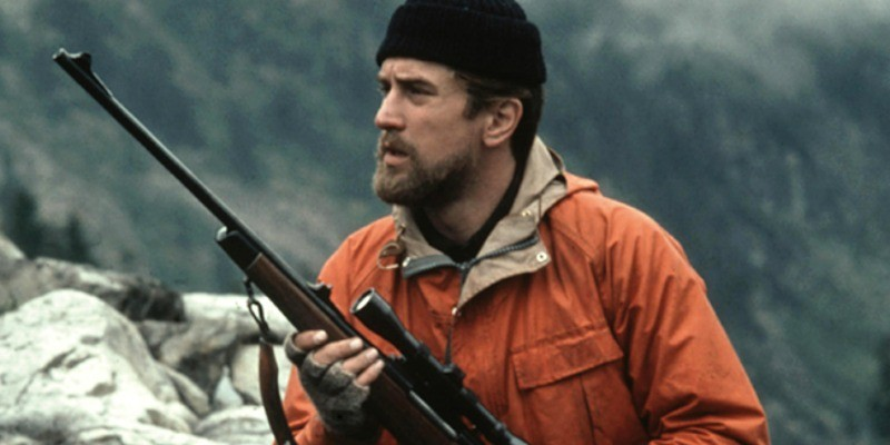 Michael holding a gun in The Deer Hunter.