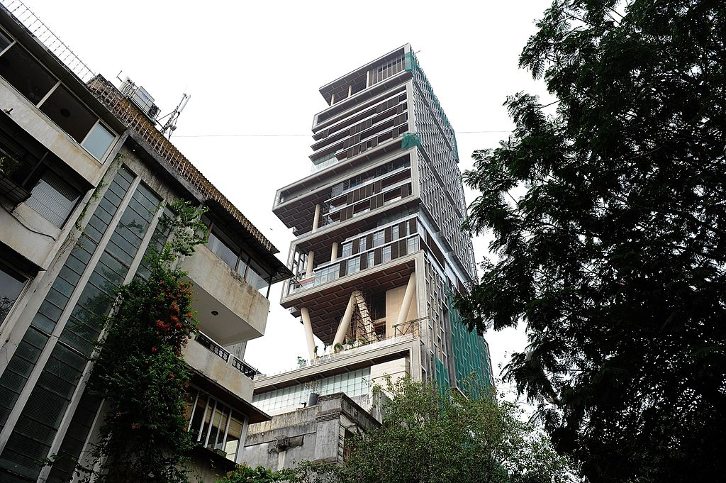 The twenty-seven storey Antilia, the newly-built residence of Reliance Industries chairman Mukesh Ambani