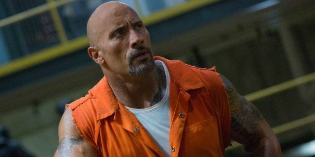 Hobbs is in an orange jumpsuit in 'The Fate of the Furious'.