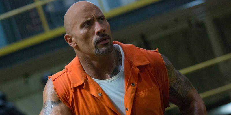 Hobbs is in an orange jumpsuit in The Fate of the Furious.