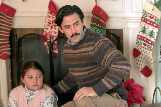 Kate, at 10 years old, and Jack on Christmas in 'This Is Us.'