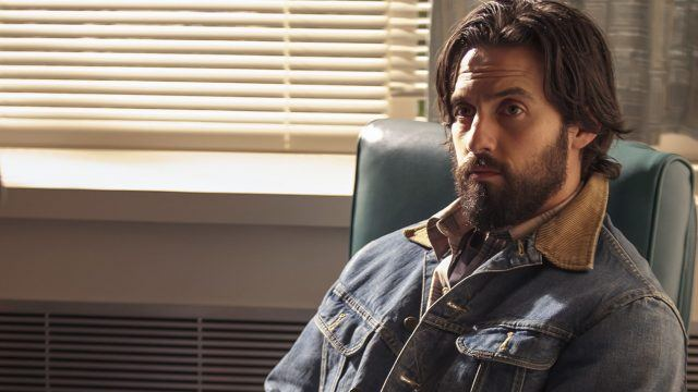 Jack sitting in a chair in the hospital in a scene from the pilot episode of 'This Is Us.'
