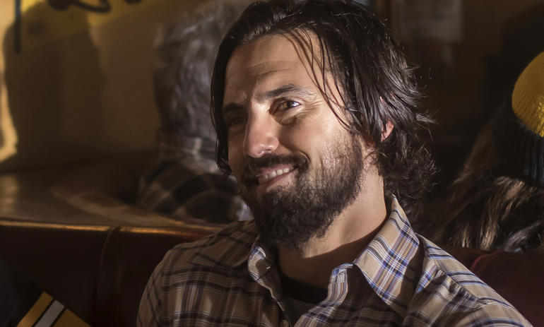 Milo Ventimiglia plays Jack Pearson and smiles in a scene from NBC's This is Us