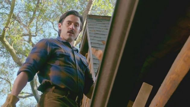 Jack up on the ladder at the cabin in the 'This is Us' episode 'The Trip.'