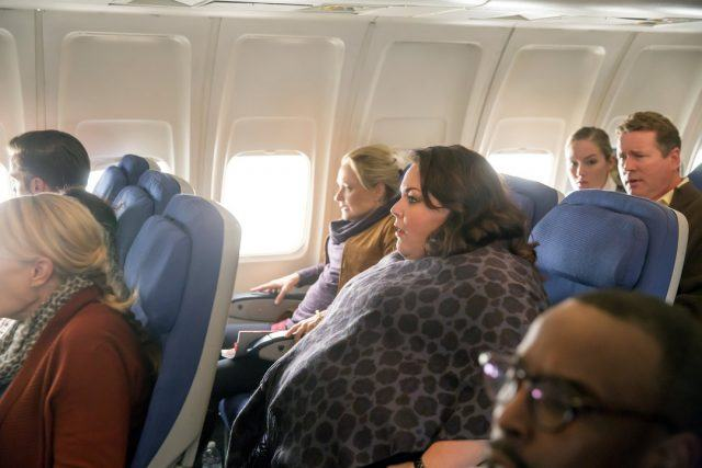 Kate experiencing some turbulence on a flight in a scene from the 'This Is Us' episode 'Pilgrim Rick'