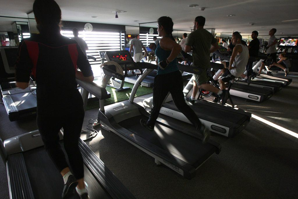 People running on treadmill