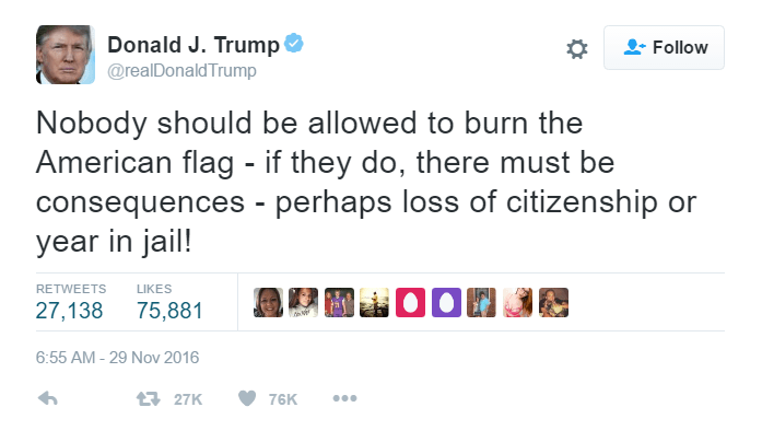 One of Donald Trump's tweets on burning the american flag