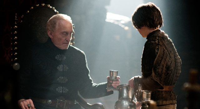 Arya Stark gives Tywin Lannister a goblet in a scene from 'Game of Thrones'