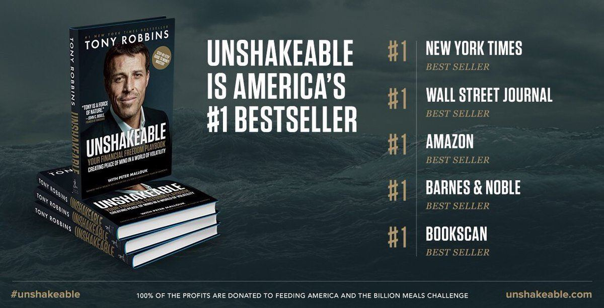 Cover art and accolades for Unshakeable, by Tony Robbins