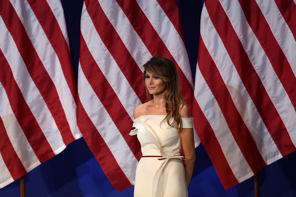 First Lady Melania Trump is seen the Salute to Our Armed Services Inaugural Ball.