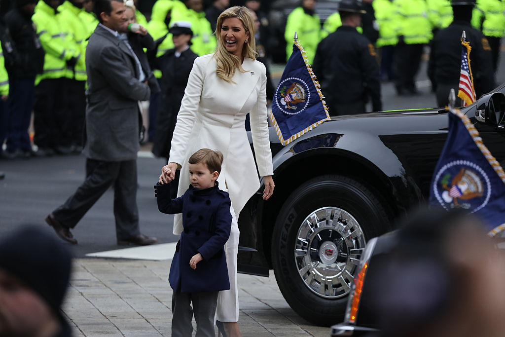 Ivanka Trump walks with her son, Joseph, during the inaugural parade in Washington D.C.