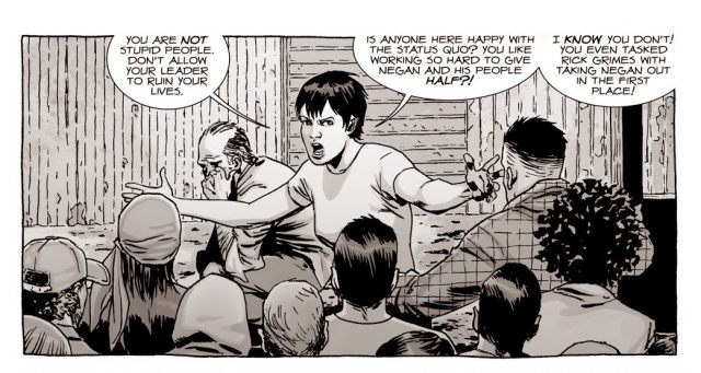 Maggie telling Hilltop, 'You are not stupid people' in a panel from 'The Walking Dead' comics.