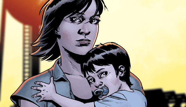 Maggie holding her son, Hershel, in a panel from 'The Walking Dead' comics.