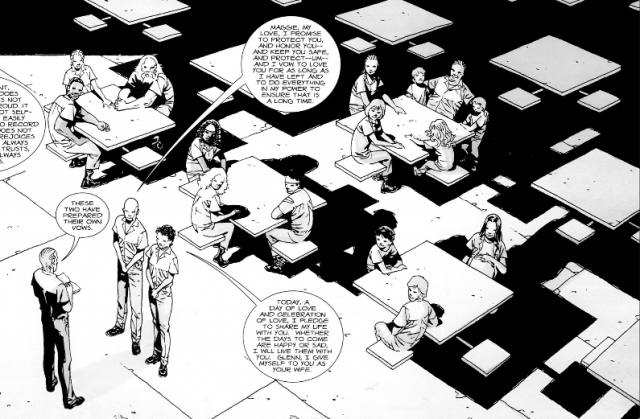 Hershel presides over Glenn and Maggie's wedding at the prison in a panel from 'The Walking Dead' comics