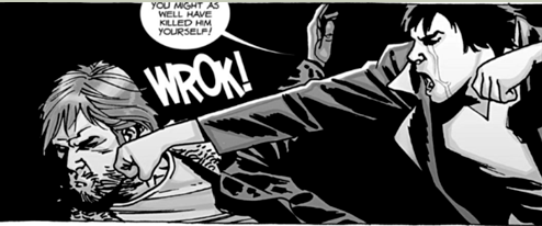 Maggie punching Rick and telling him 'You might as well have killed him yourself' in a panel from 'The Walking Dead' comics.