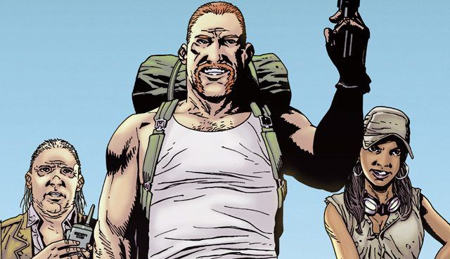 Eugene, Abraham and Rosita first introduced in Robert Kirkman's Walking Dead comics.