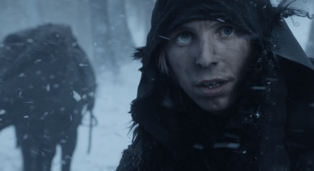 Gared, a Night's Watch ranger, beyond the wall in the first episode of 'Game of Thrones'