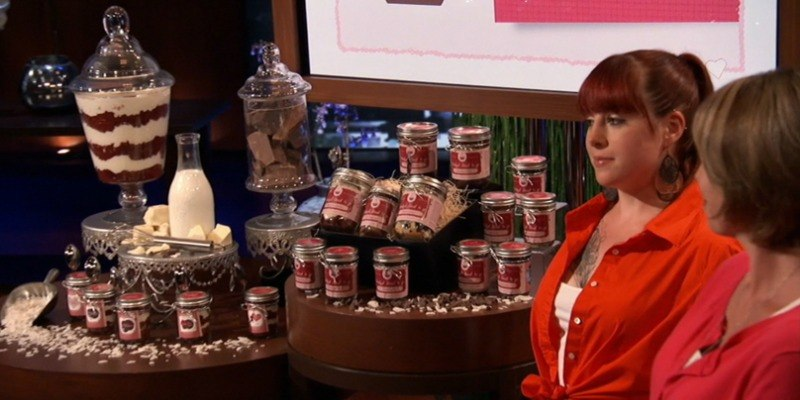 Tracey Noonan and her daughter Danielle Desroches presenting Wicked Good Cupakes jars on Shark Tank.