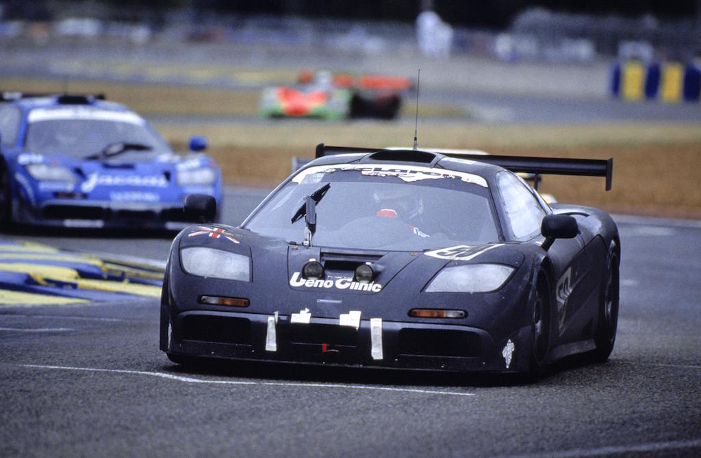 A 1995 McLaren F1 GTR on the race track.