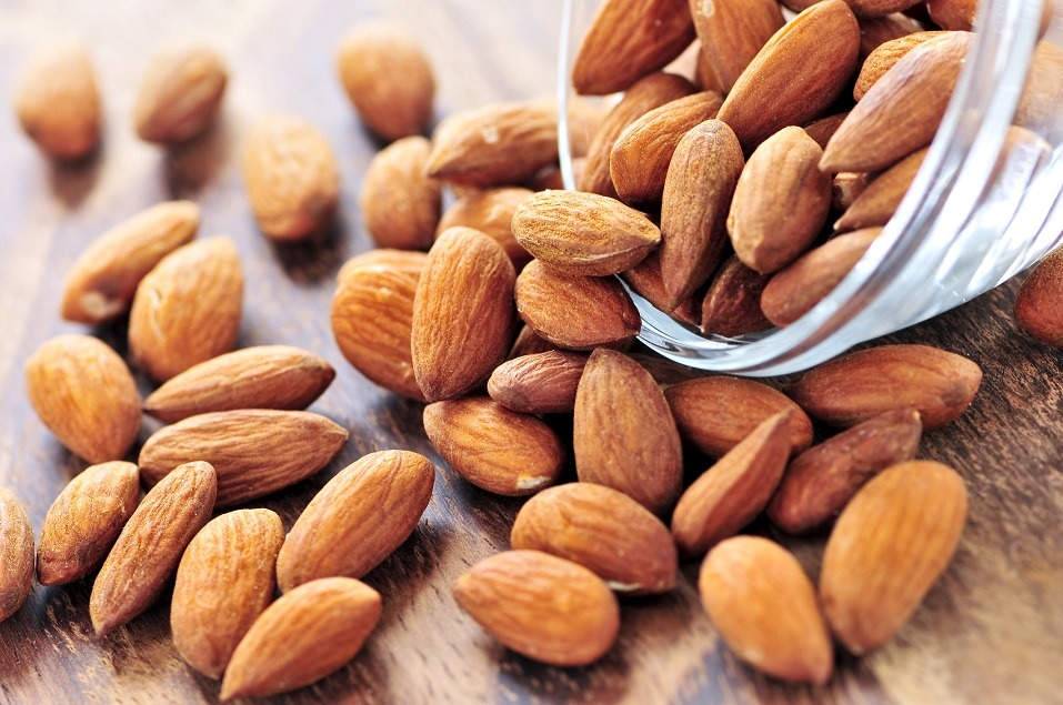 Raw almonds spilling out
